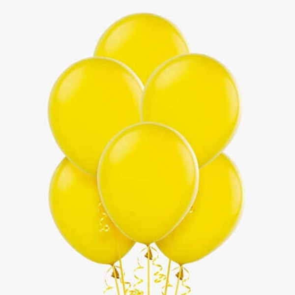 (12) Yellow Helium Balloons