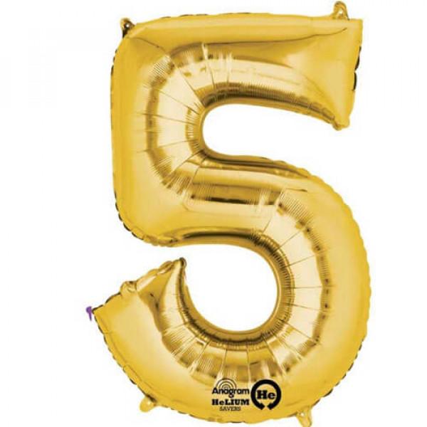 GOLDEN 5 Number Balloon