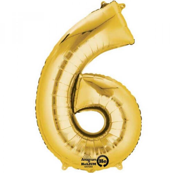 GOLDEN 6 Number Balloon
