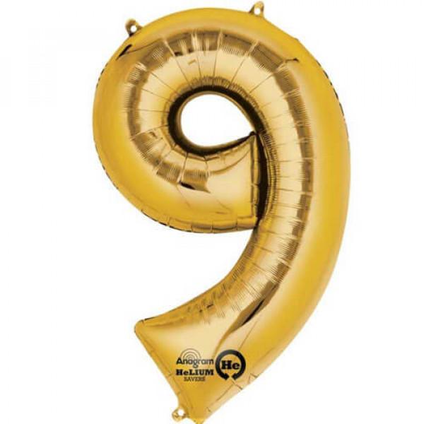 GOLDEN 9 Number Balloon
