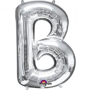 SILVER B Letter Balloon