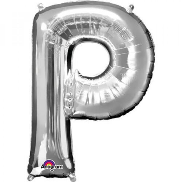 SILVER P Letter Balloon