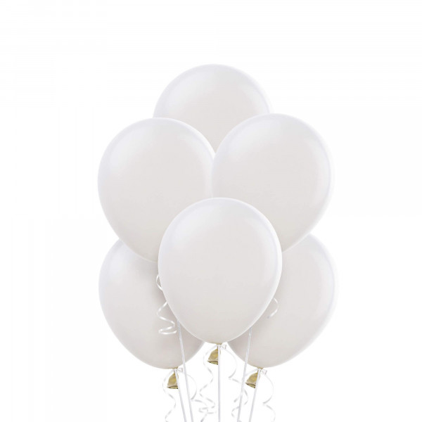 (6) White Helium Balloons