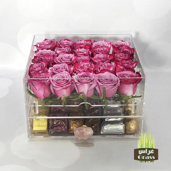 LU'CHOCO Chocolate Acrylic Box with Purple Roses